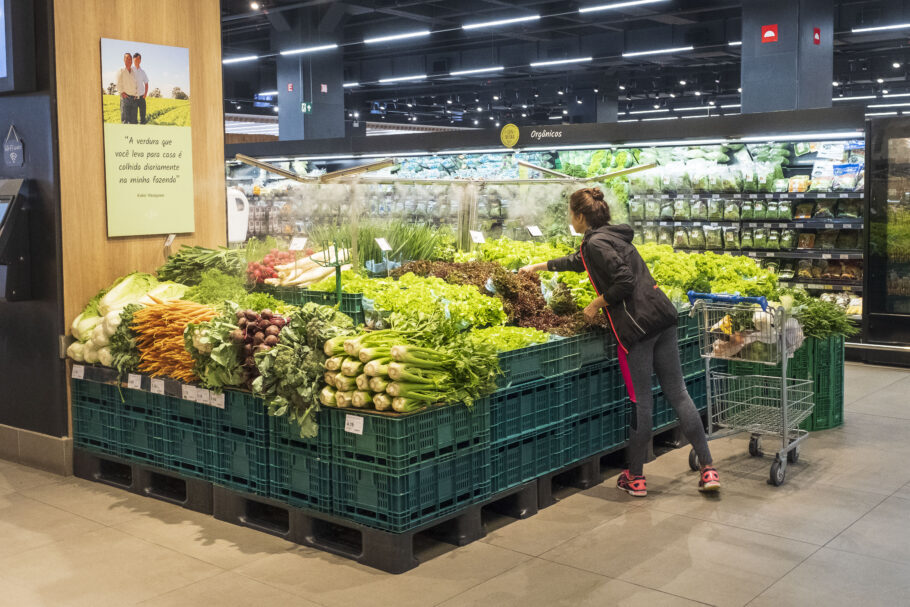 setor de legumes e verduras de mercado
