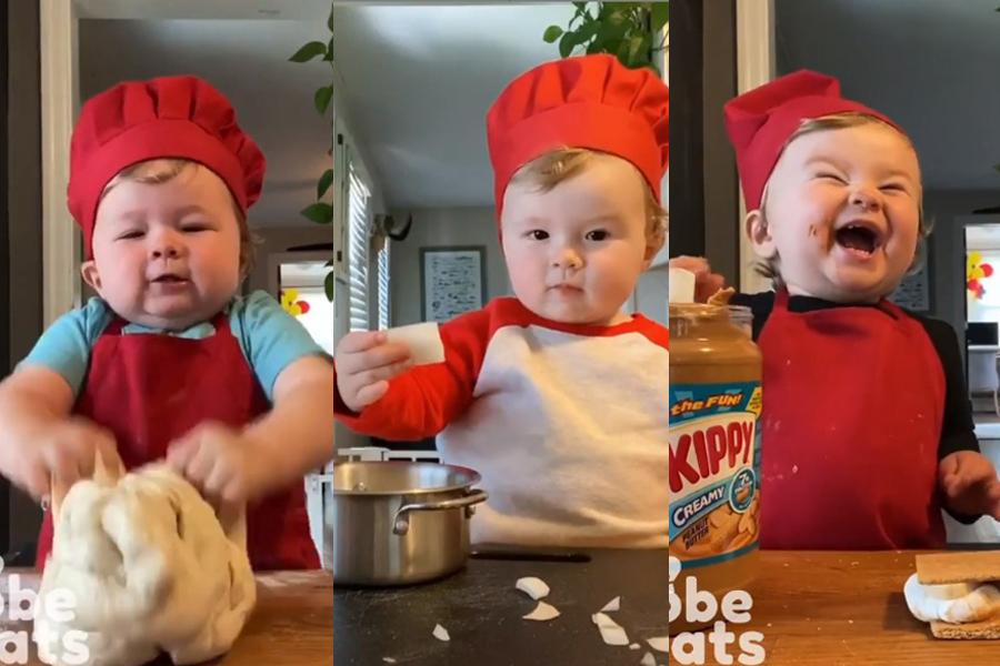 bebê chef cozinhando