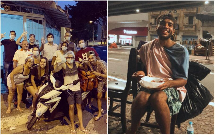 voluntários entregam refeição a morador de rua