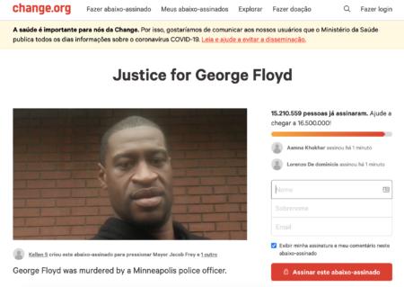 petição por justiça a George Floyd