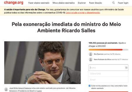 A petição online reúne quase 170 mil assinaturas pela exoneração de Salles