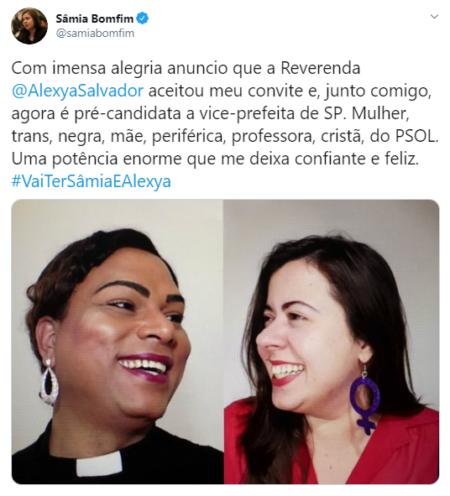 Sâmia Bomfim anuncia pastora trans como sua candidata à vice-prefeita de São Paulo