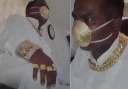 Empresário indiano faz máscara de ouro contra a covid-19