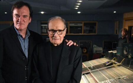 Ennio Morricone ao lado de Quentin Tarantino