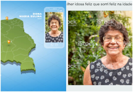 Foto de banco de imagem simula idosa conversando com Bolsonaro