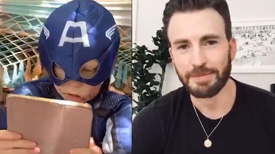 O ator Chris Evans enviou uma mensagem fofa para o menino que levou 90 pontos após salvar a irmã de ataque de um cachorro