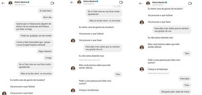 A mãe do menino xingado por Otávio Martins expôs a conversa com o ator