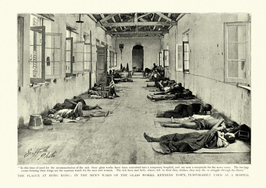 Hospital temporário para vítimas da peste bubônica, em Hong Kong – 1894