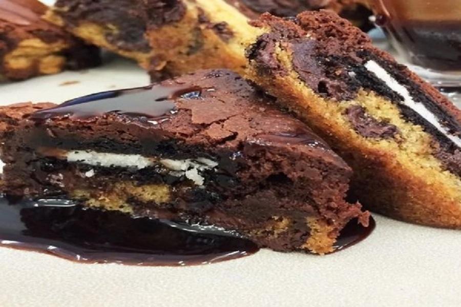 Bolo brownie de cookie