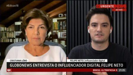Felipe Neto criticou a GloboNews em entrevista ao próprio canal