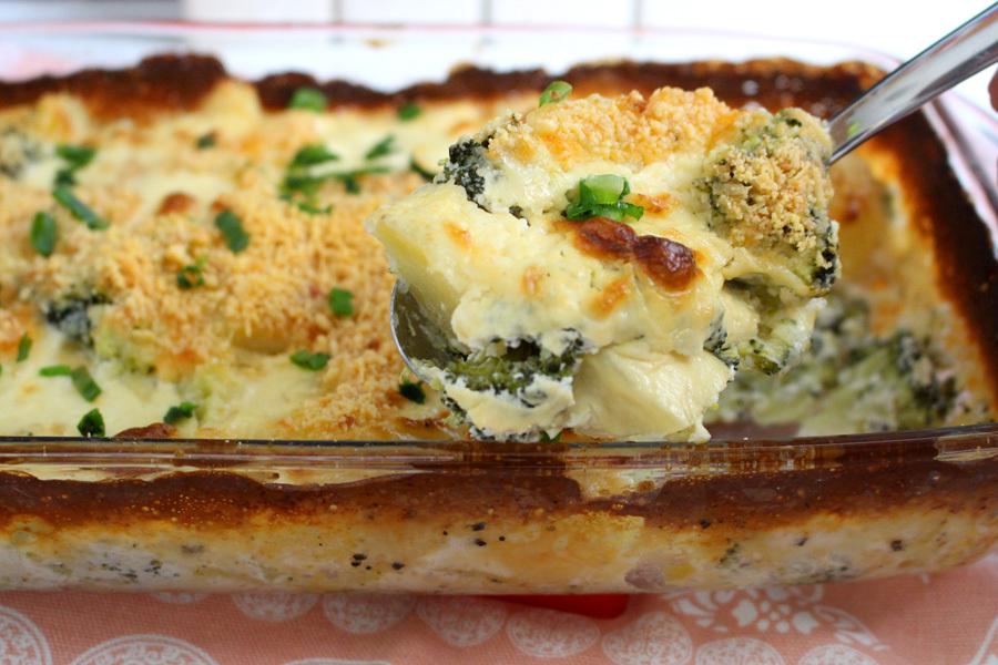 Gratinado de batata com brócolis