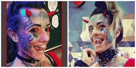 Ela, que era auxiliar administrativa, conheceu seu companheiro em uma sessão de tatuagens no estúdio que ele trabalhava na época.