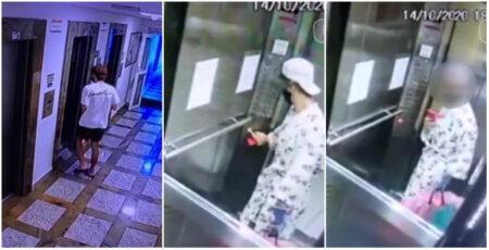 bandido faz selfie no elevador após roubar roupão da vítima
