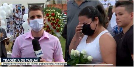 Ao vivo, Repórter da Globo chora em despedida de vítimas de acidente