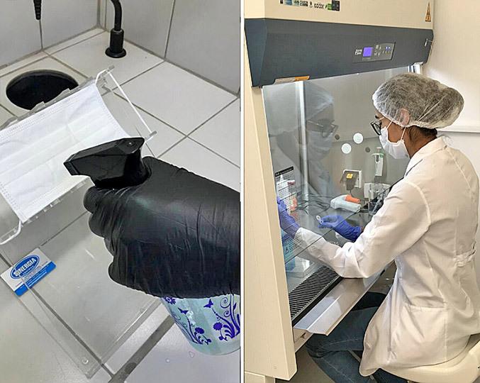 cientista testando o spray em laboratório