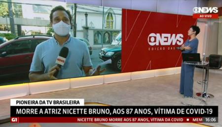 Repórter da GloboNews fica emocionado com morte de Nicette Bruno