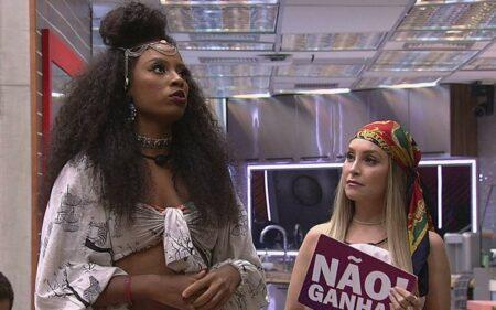 Lumena e Carla durante o Jogo da discórdia