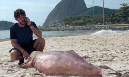 Personagem de Marco Pigossi no momento em que encontra o Boto Cor-de-rosa em uma praia