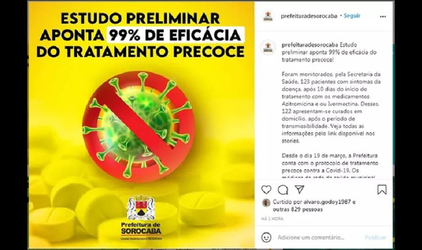Prefeitura de Sorocaba divulga estudo falso para defender kit covid