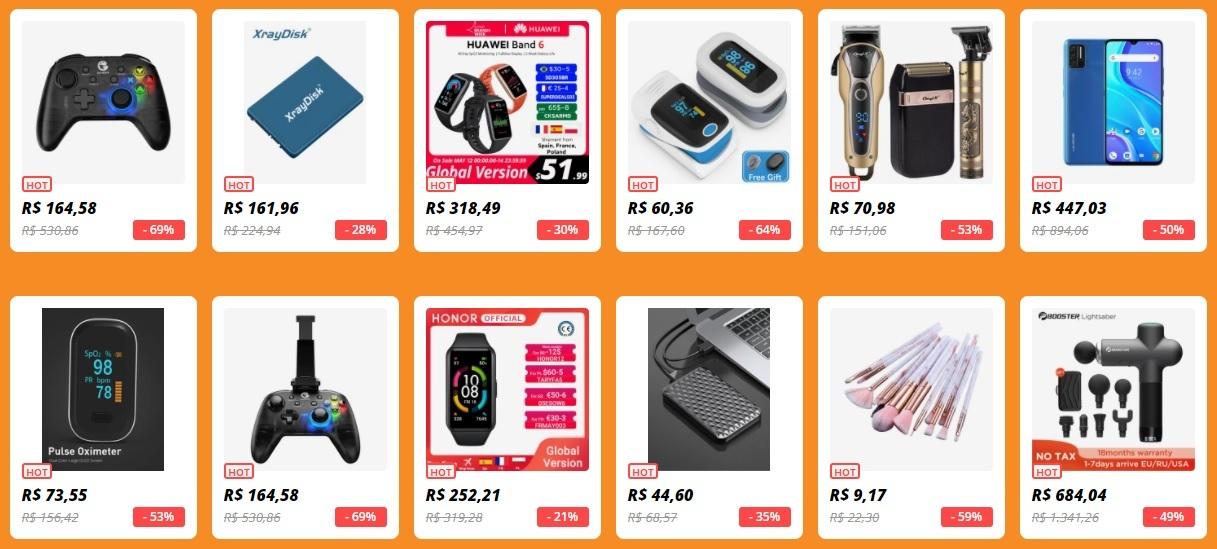 O AliExpress terá durante todo o mês uma página especial com produtos selecionados que podem ter descontos de até 70% de seu valor original