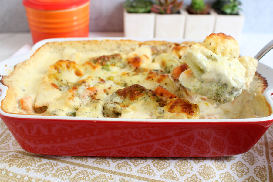 Legumes gratinados com queijo
