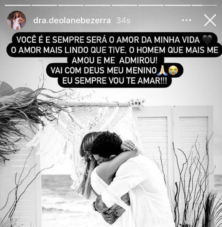 Postagem de Deolane Bezerra sobre a morte do marido