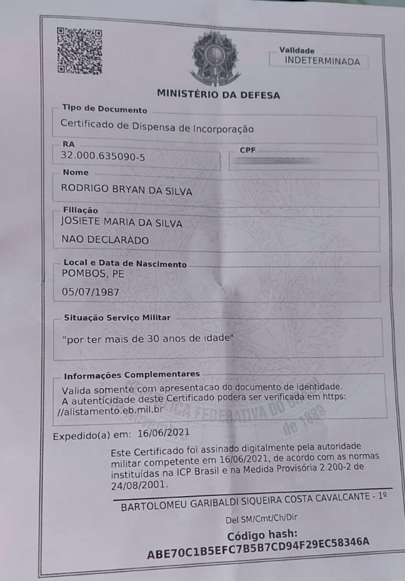Documento que oficializa a dispensa militar de Rodrigo Bryan