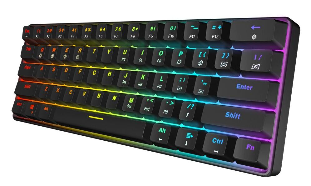 À prova d'água, poeira e anti corrosão, o teclado gamer SK61, GK61 da Skyloong, está custando R$ 306,80 no versão Gateron Red