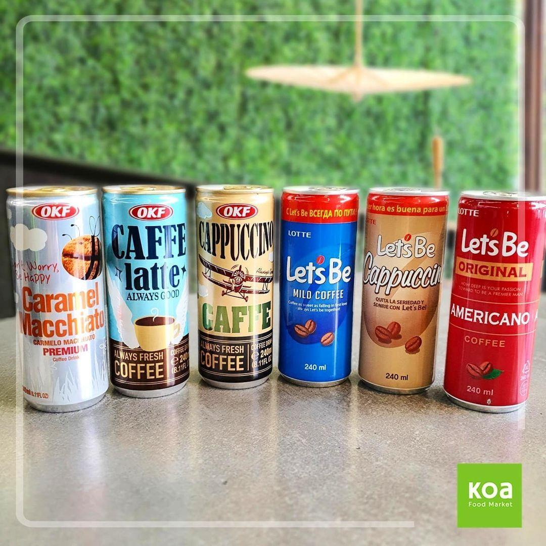 Muito comum em vending machines na Ásia, os cafés em lata coreanos da OKF e Lotte fazem sucesso no Koa Food Market