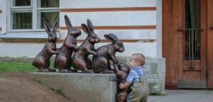 crianças escultura