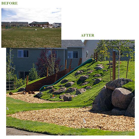 Esse desnível com rochas foi implementado no Pátio de uma escola Montessori. Vejam a transformação do espaço.