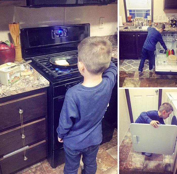 Na foto, o menino de 6 anos aparece lavando louça e roupa e ajudando em outras tarefas domésticas.