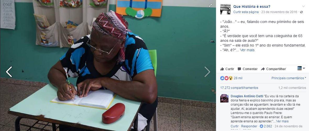 """Nona Nena tem apoio total de seus colegas de seu turma em seu aprendizado: """"As crianças não se aguentam: levantam e vão lá me ajudar. Aí, acabam aprendendo duas vezes!"""""""
