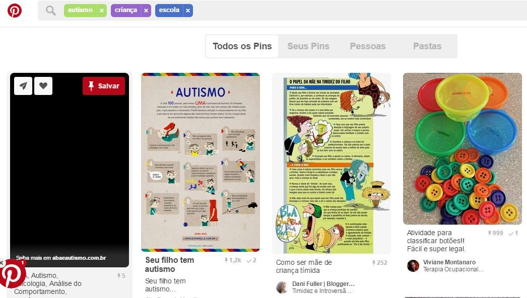 """Uma busca por palavras-chave simples como """"escola"""", autismo"""" e """"criança"""" traz um retorno significativo de referências, ideias e práticas."""