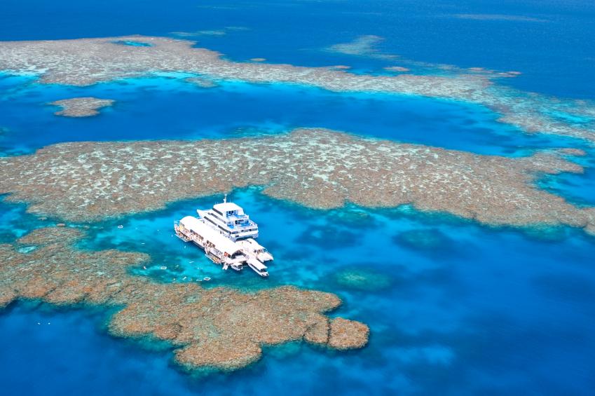 Vista aérea da Grande Barreira de Corais, na Austrália