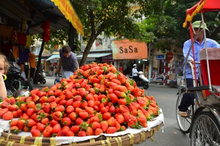 Tenta descobrir o preço desses morangos aí. Vendedora ambulante em Hanói