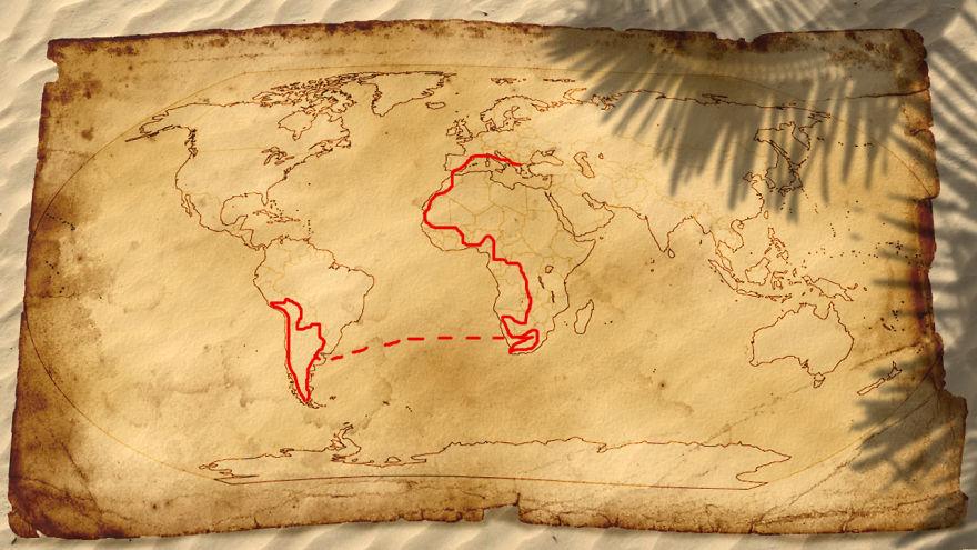 Mapa mostra o trajeto feito pelo casal grego