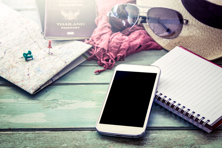 Preparation for travel, cellphone, sunglasses ,passport