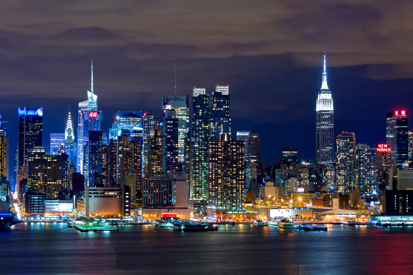 New York City skyline at night, view over Hudson River, long exposure with tripod