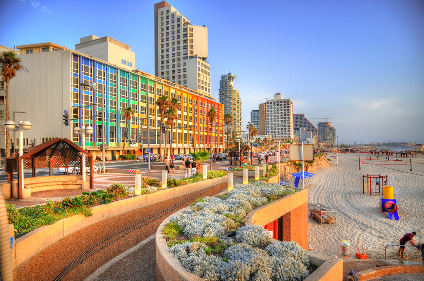 Colorful HDR image of Tel Aviv beach