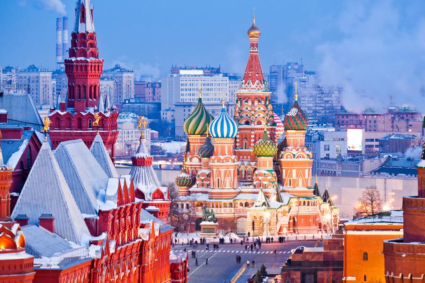 Vista da Praça Vermelha, em Moscou, no inverno