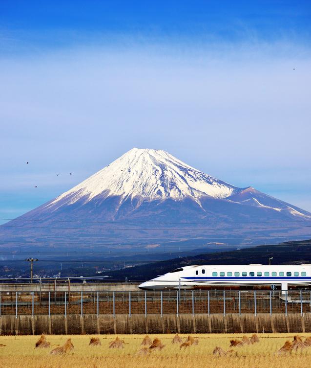 Trem-bala com o Monte Fuji ao fundo