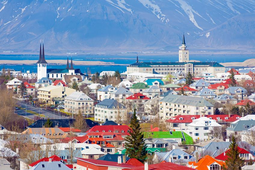 Vista panorâmica de Reykjavík, capital da Islândia