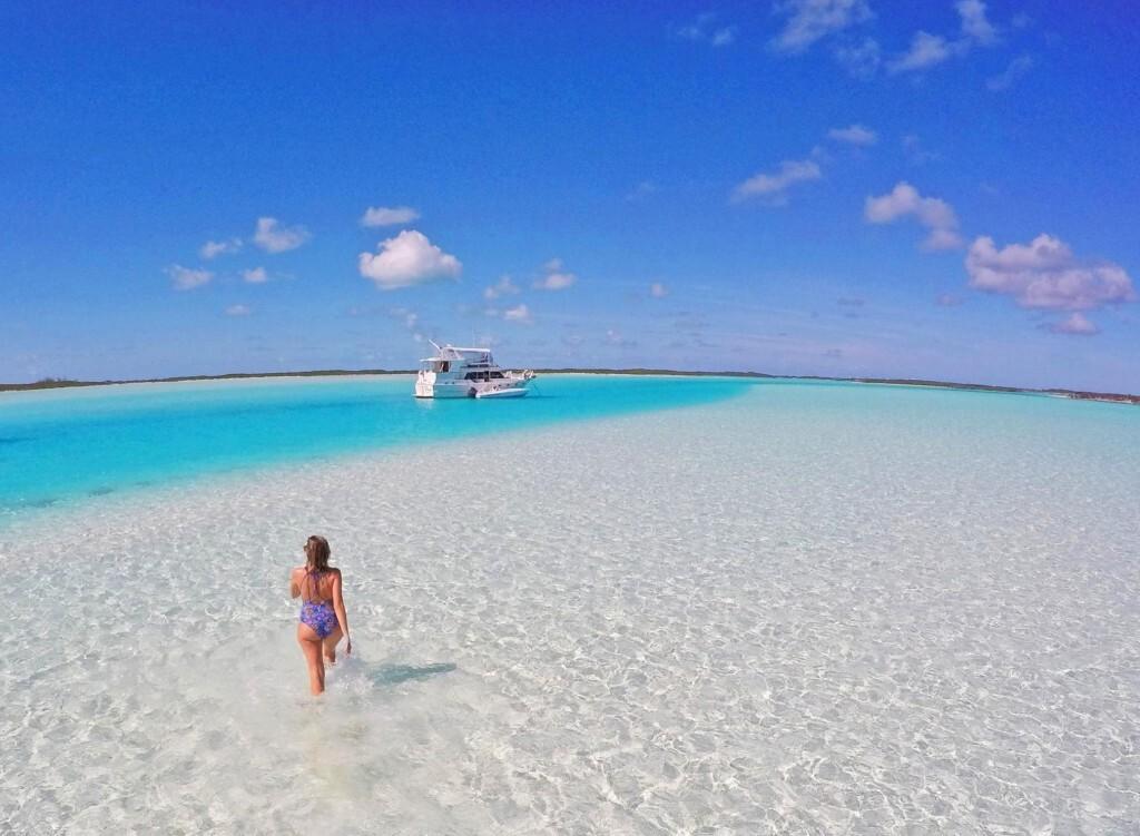 Bancos de areia de Exuma Cays, em Bahamas