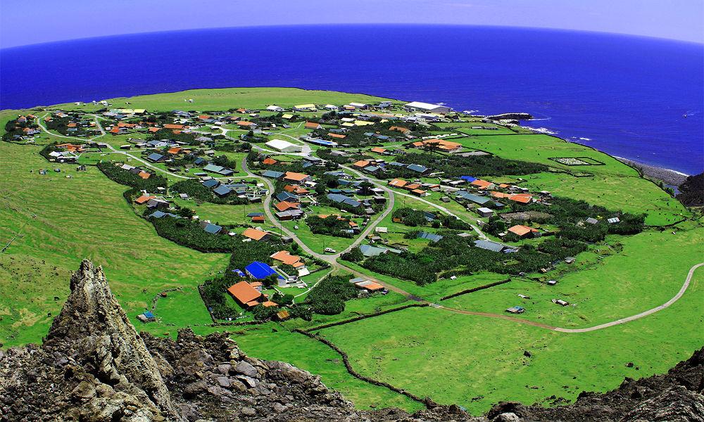 Vista panorâmica de ilha de Tristan