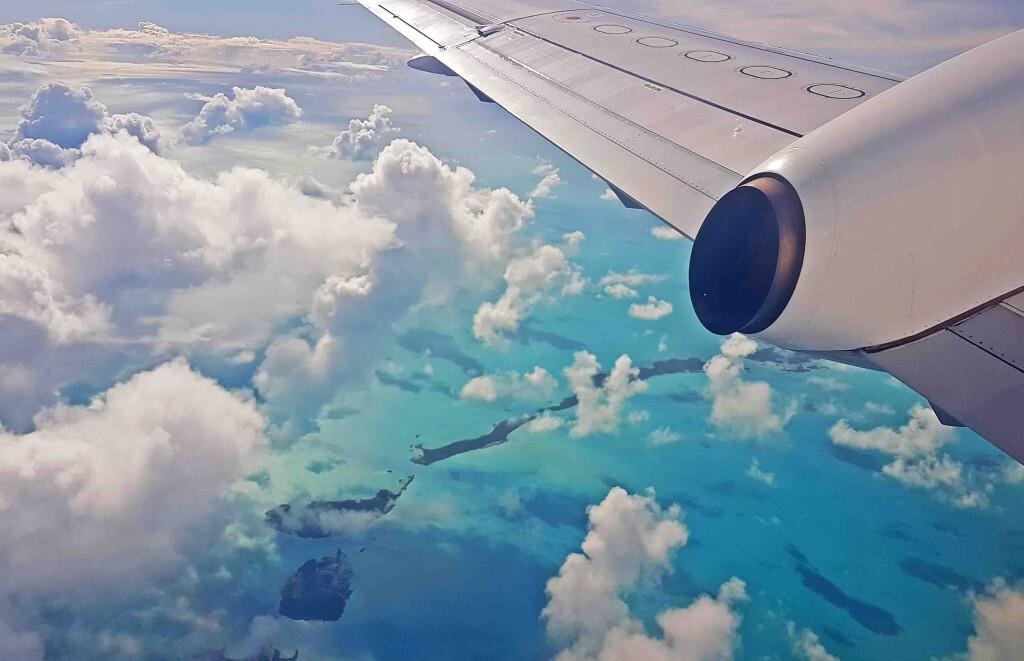 Vista do vôo entre Exuma e Nassau, Bahamas