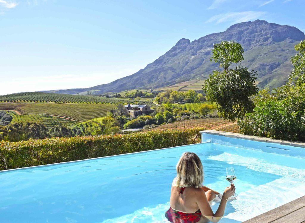 Piscina do quarto no Delaire Graff Estate em Stellenbosch, África do Sul
