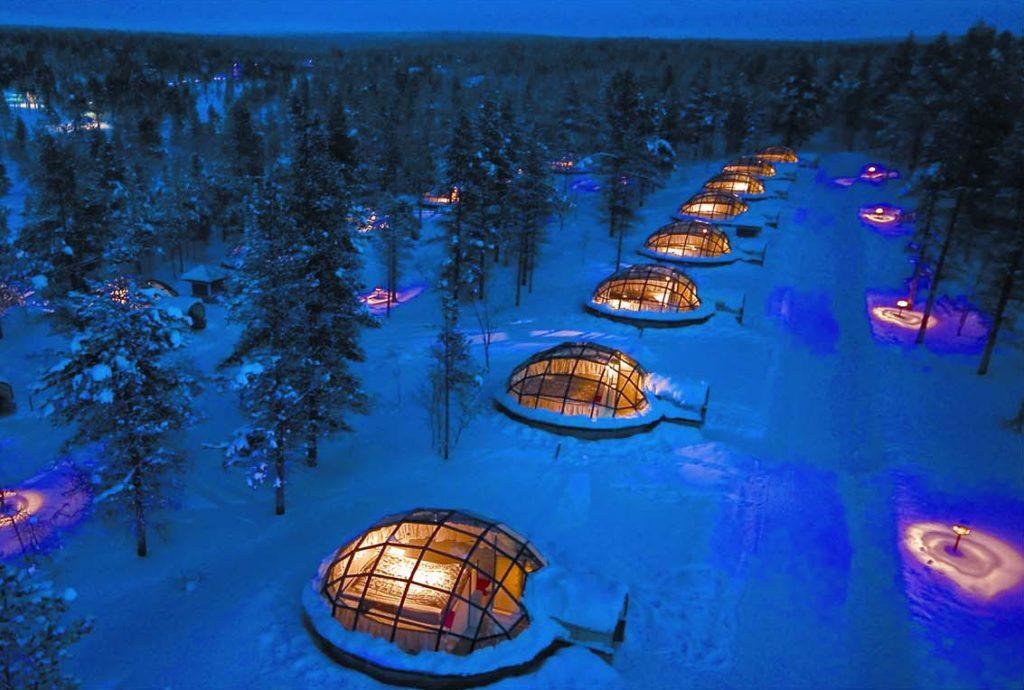 Iglus de vidro do Kakslauttanen Arctic Resort, no norte da Finlândia