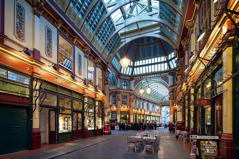 """Leadenhall Market, em Londres, cenário do primeiro filme da franquia """"Harry Potter"""""""