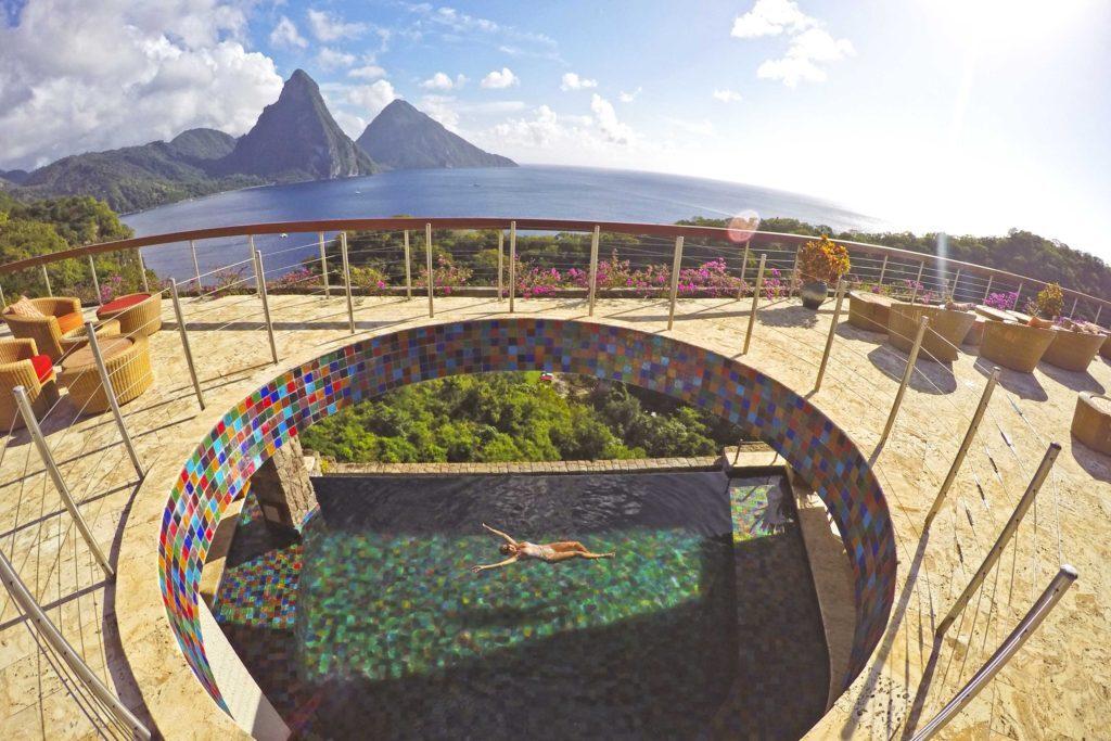Piscina comunitária do Jade Mountain, em Saint Lucia